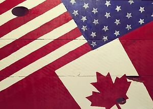 Canadian/American Wooden Flag