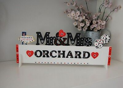 PERSONALISED Las Vegas Wedding Table Decoration Mr & Mrs Sign Pretty ANY - Las Vegas Wedding Decorations