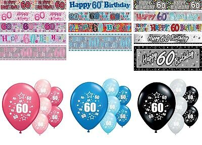 60th BIRTHDAY BANNERS PARTY DECORATIONS PINK BLUE BLACK WALL PARTY BANNERS - 60 Birthday Banners