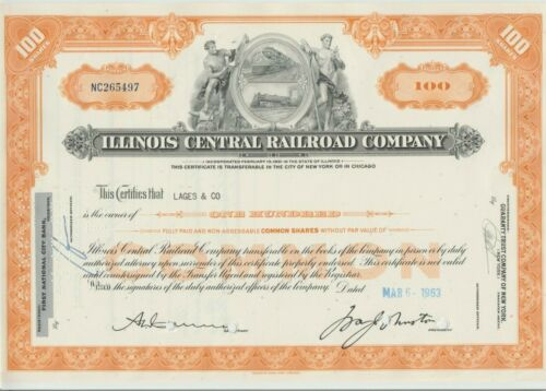 Illinois Central Railroad Company Stock Certificate CN Canadian National