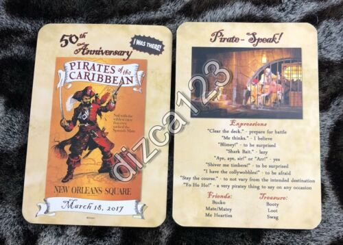 Disney Card Disneyland Pirates of The Caribbean 50th Anniversary I Was There