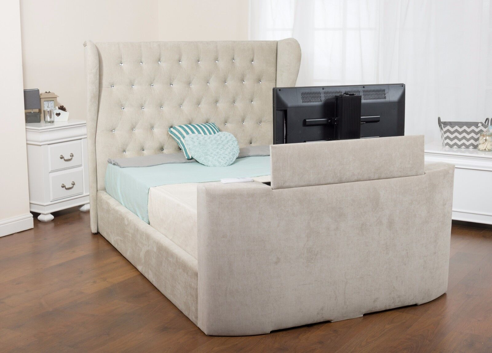 Leia Fabric Tv Bed Double Wingback For 32 Tv Various Colours Plus