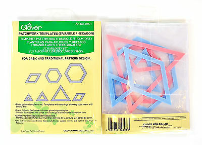 Clover Patchwork Quilting Templates - 7 Shapes - Triangle and Hexagon
