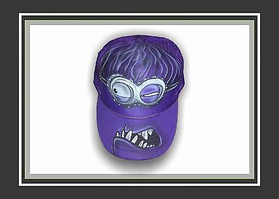 Minion Hats For Adults (Airbrushed Purple MINION Trucker hat one size fits)