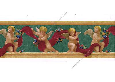 Architectural Renaissance Roman Angels Cherubs Roses Green Red Wallpaper Border