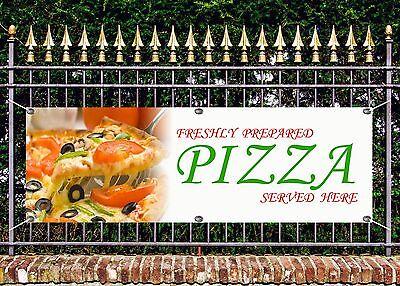 OUTDOOR PVC  FRESHLY PREPARED PIZZA BANNER PIZZERIA SIGN ADVERT FREE ART WORK