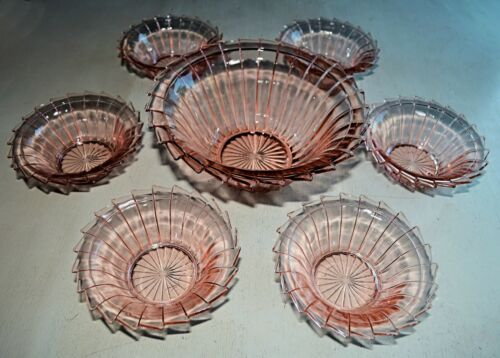 JEANNETTE SIERRA PINWHEEL 7-PC DESSERT SET BERRY PUDDING BOWLS Depression Glass