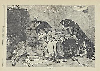 Scottish Border Collie - SCOTTISH DEERHOUND DOG BORDER COLLIE DOG WATCHING BABY ANTIQUE ART PRINT 1887