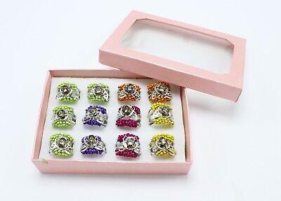 New Wholesale One Dozen Adjustable Beaded Butterfly Kids Rings #R1241-12