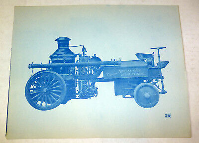 Rare Ahrens-Fox Steam Electric fire engine, blue print advertising photo c. 1900 (Fox Engine Electrical)