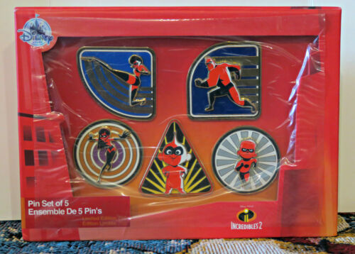 Disney Store THE INCREDIBLES 2 LE 750 Pin Set NIB 5 Pins PIXAR Jack Jack Violet