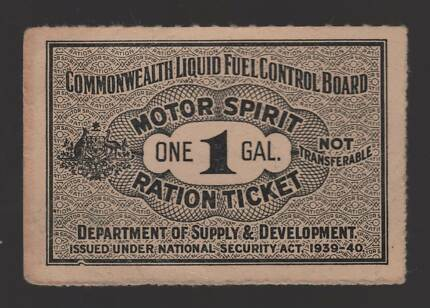 Petrol Ration Ticket 1939-40 for 1 Gal