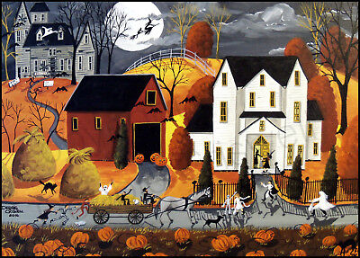 Halloween witch farm red barn dog horse cat Giclee ACEO print folk art Criswell](Halloween Folk Art Paintings)