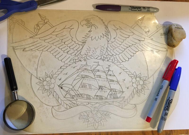"1930's ""Eagle/ Ship/Flags ""13 x10 Acetate Tattoo Stencil  Owen Jensen Collection"