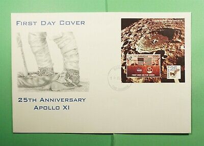 DR WHO 1994 GAMBIA FDC SPACE APOLLO 11 ANIV CACHET S/S  Lg15796