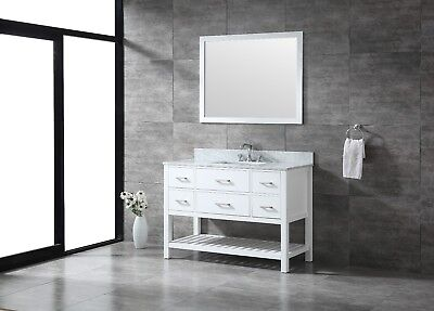ALL WOOD High-End 48-Inch White Shaker Bathroom Vanity with Lower Shelf