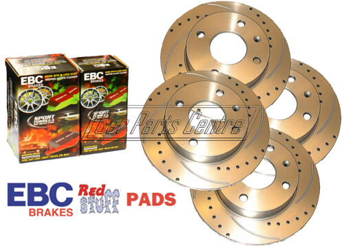 FOR HONDA CIVIC TYPE R EP3 FRONT REAR DRILLED GROOVED BRAKE DISCS EBC RED PADS