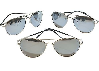 G&G 3 pack 50 mm Polarized Silver Mirror Aviator Sunglasses with Spring Hinges S