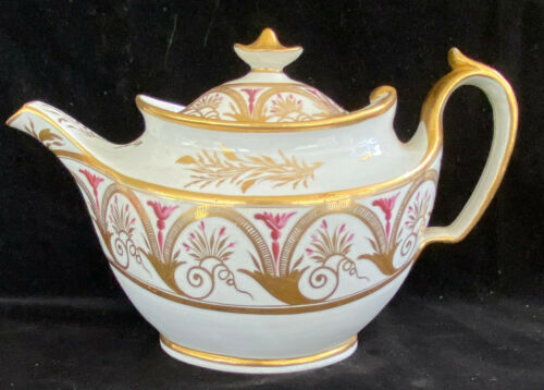 Unmarked English Porcelain Lidded Teapot c 1810 John Rose - Coalport Factory
