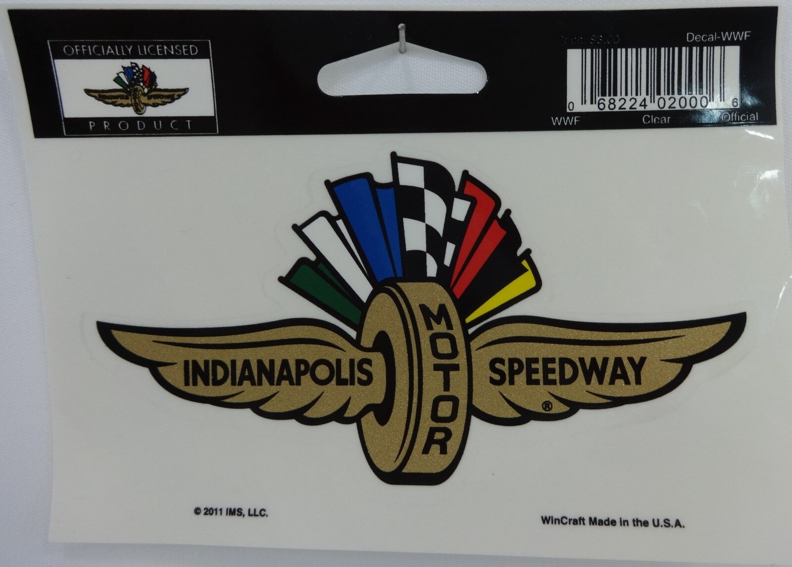 Indianapolis motor speedway gold wings wheel flag decal for Indianapolis motor speedway clothing