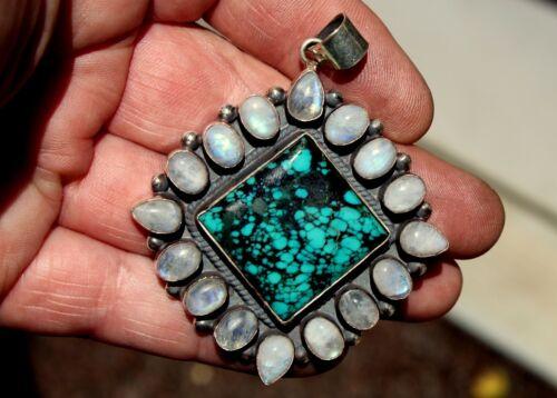Vintage BIG Navajo Sterling Silver & Rainbow Moonstone & Turquoise Stone Pendant