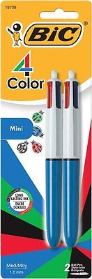 Bic 4-color Mini Ball Pen Medium Point 1.0mm Assorted Ink 2-count 19709