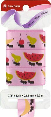 SINGER Summer Picnic Satin Ribbon, 7/8-Inch Wide by 12-Feet Long, Bubble -