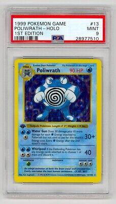 Pokemon 1999 Game #13 Poliwrath Holo 1st Edition Shadowless PSA 9 Mint