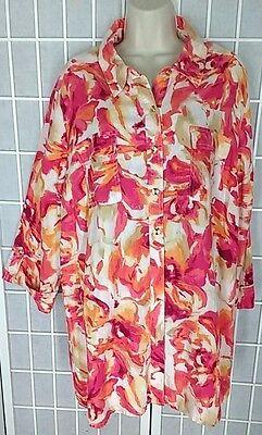 NWT JM Collection Linen Shirt Blouse Sz. 22W 2X - Pink Orange Tropical Floral