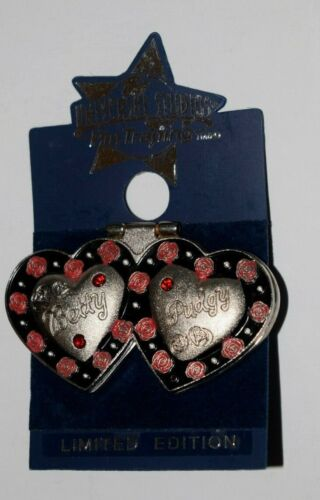 """VINTAGE, """"Betty and Pudgy"""" Metal Locket, Lapel or Hat Pin with Double Clasp"""