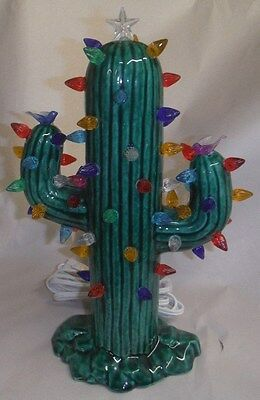 LARGE CHRISTMAS CACTUS GLOSSY GREEN LIGHTED FINISHED CERAMIC  WWC #1023