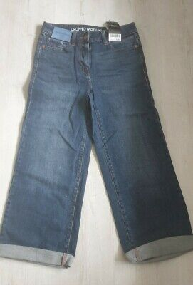 Womens Next Cropped Wideleg Mid Rise Jeans Bnwt Rrp £28 Size Uk...