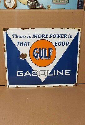 GULF gasoline porcelain sign gas pump plate vintage brand motor oil co good gulf