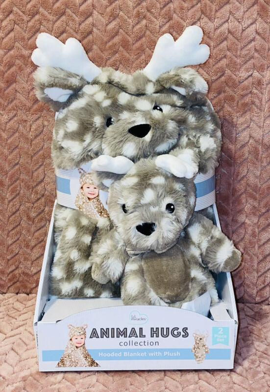 """Little Miracles Plush Reindeer Moose Animal Hugs Hooded Baby Blanket 30""""x36"""" Set"""