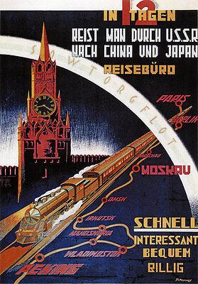 Transsibirische Eisenbahn Paris Berlin Moskau Waldiwostok Peking Plakate A1 267