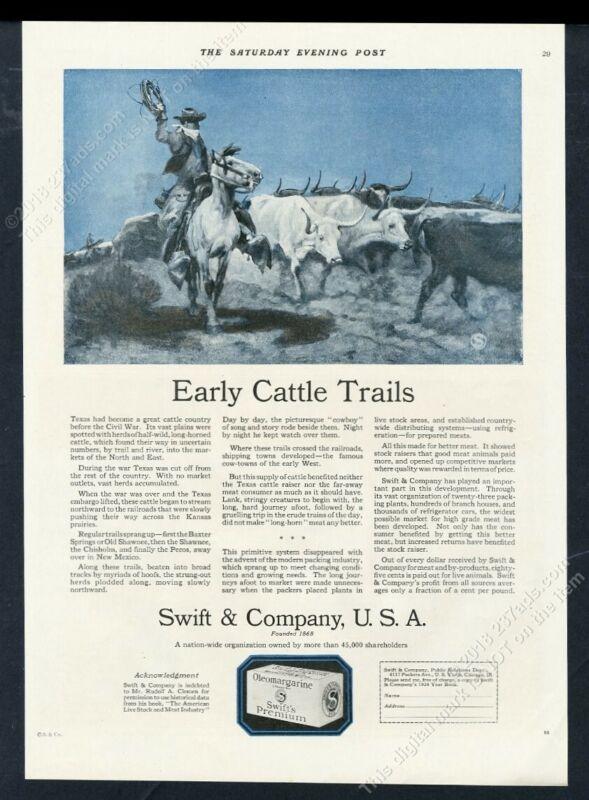 1924 longhorn cattle drive cowboy twilight art Swift meats vintage print ad