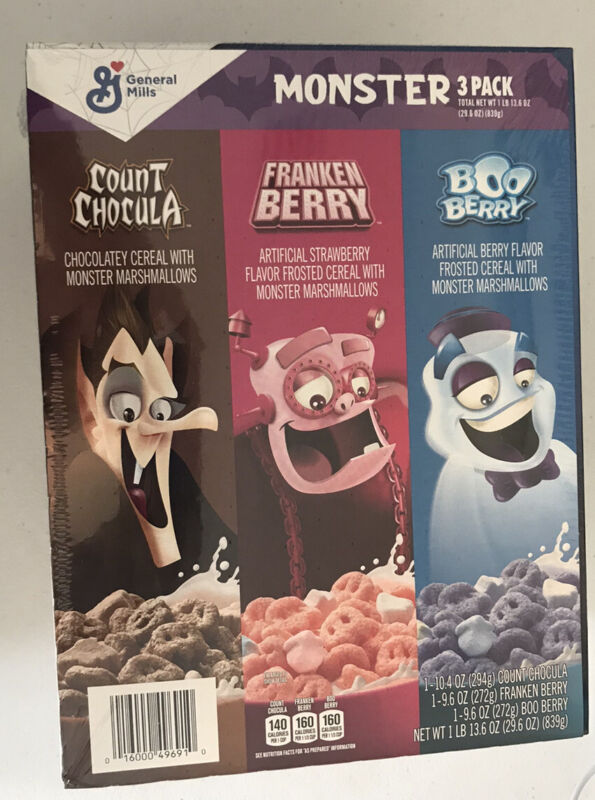 Set of 3 New GM Monster Cereal - Boo Berry Count Chocula Franken Berry Halloween