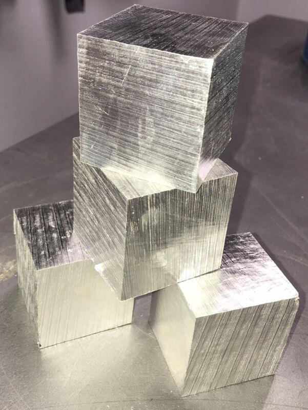 "Metal Density Blocks Set 1.5"" Cube Pure Element 12 Al, 13 Mg, 30 Zn USA SHIPPER"
