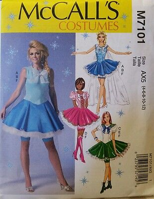 McCalls M7101 Pattern - Misses' Costume Cosplay/Anime/Frozen Dress & Cape 4-12