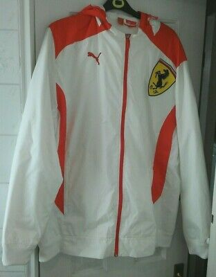 Ferrari Scuderia  White Puma Racing Jacket With Hood.  XXL. Very Good Condition