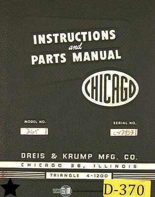 Chicago Dreis Krump 265 Press Brake Instructions And Parts Manual