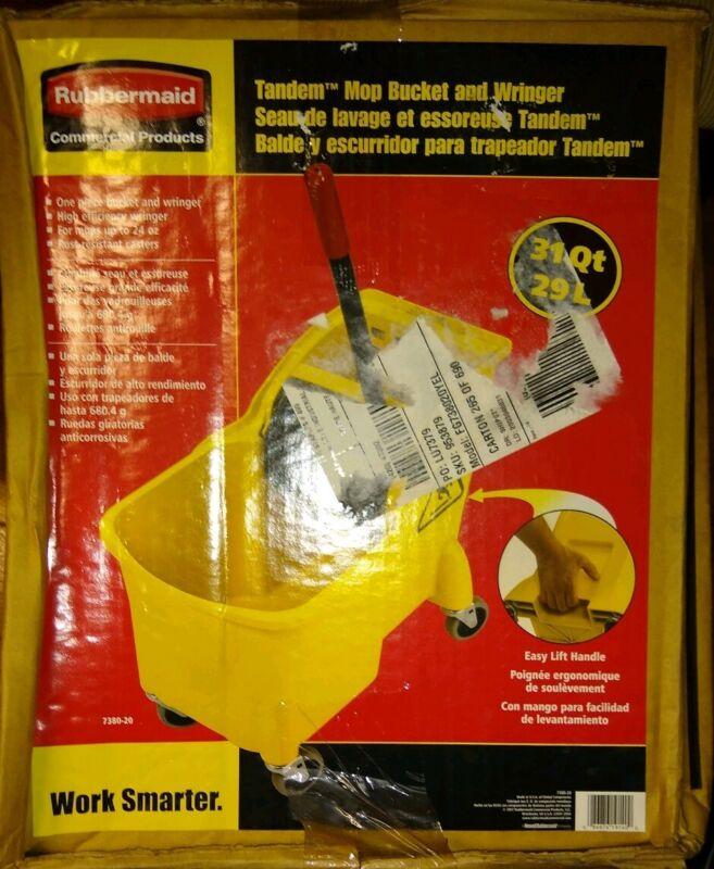 31 Qt. Tandem Wheeled Mop Bucket Rubbermaid Commercial Prod 7380-20 NEW