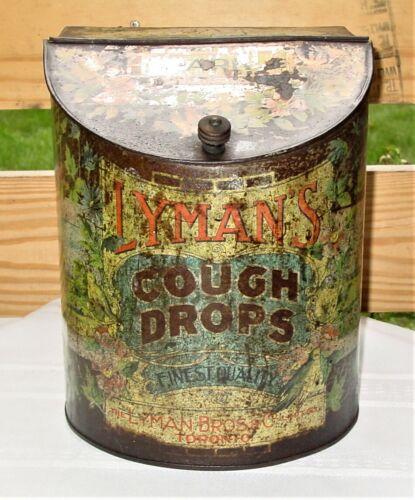 1930s Lyman Cough Drop  Advertising Counter Display Tin Toronto Canada