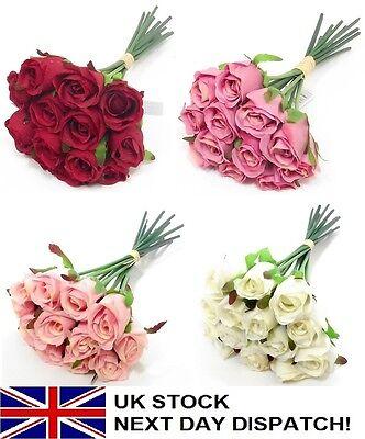 25cm Artificial Rose Silk Flowers Flower Floral Fake Valentines Wedding VARIOUS