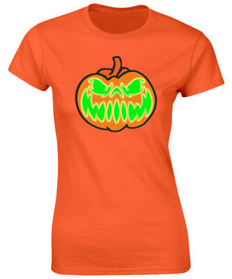 Grinning Jack Glow In The Dark Halloween Womens T-Shirt 8 Colours (8-20) by swag