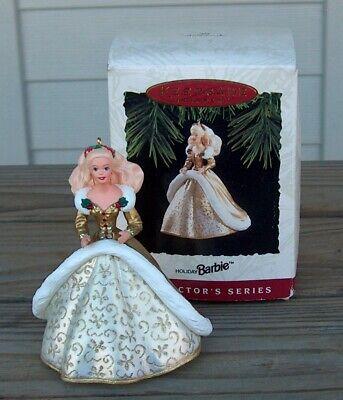 1994 Hallmark Holiday Barbie # 2 Christmas Ornament Gold Holly Box QX521-6