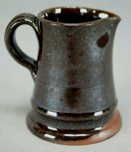 American Brown Glazed Redware Red Earthenware Miniature Pitcher C. 1840s