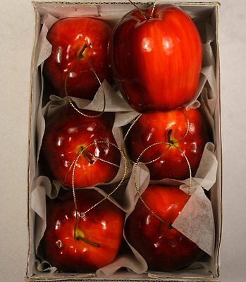 """Hanging Apple Tree Ornament  3 1/4"""" Shiny Red 6 Piece Pack 12511738180"""