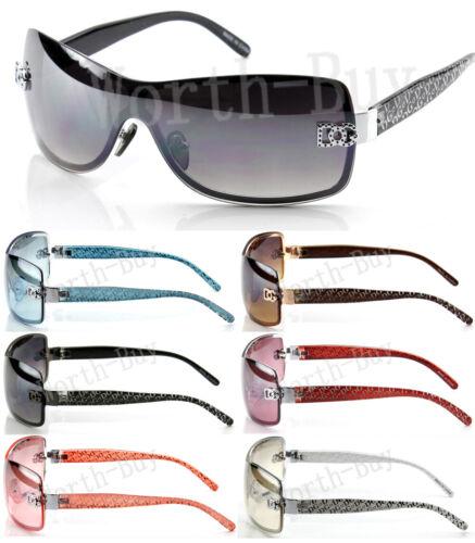 New WB Eyewear Womens Wrap Shield Sunglasses Designer Shades Fashion One Lens