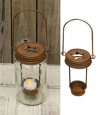 Mason Jar Star Lid Tealight Holders Rust  Primitive Country Rustic Light